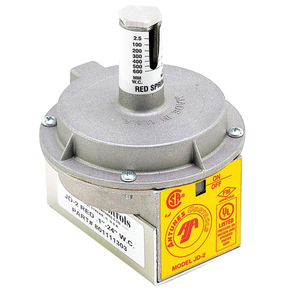 Grey Spring Range AJ Antunes 801111302 Model Jd-2G Air Pressure Switch 0.1 to 4 W.C