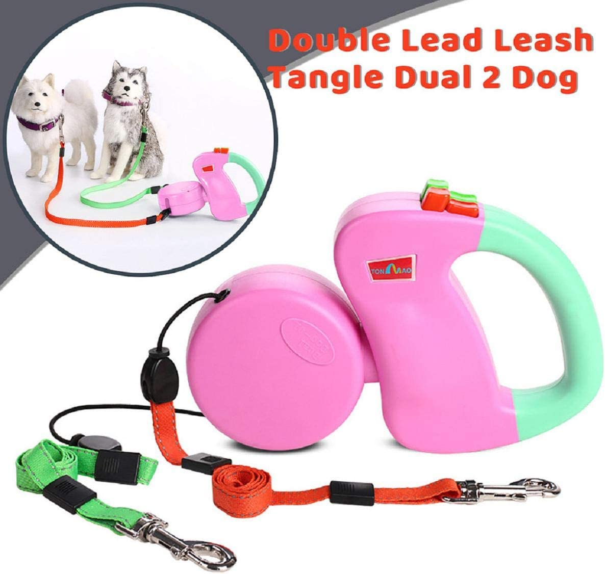 Dual Dogs Retractable Leash with Innovative Gel Handle