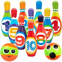 SODIAL Kids Foam Bowling Set , 10 Indoor Colorful Soft Pins 2 Bowling Balls,Toddlers Toys Printed with Number,Sport Baby…