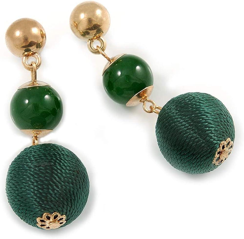 Pendientes de gota de doble bola verde en tono dorado - 55 mm L