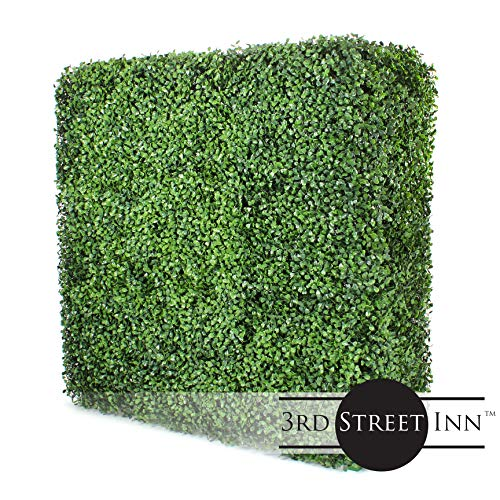 3rd Street Inn Square Boxwood Hedge Wall - Outdoor Artificial Privacy Plant - Great Boxwood and Ivy Substitute - DIY Hedge Divider ()
