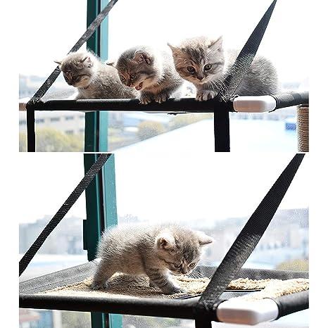 Decdeal Cama de Ventana para Gatos Casa con Hamaca de Percha ...