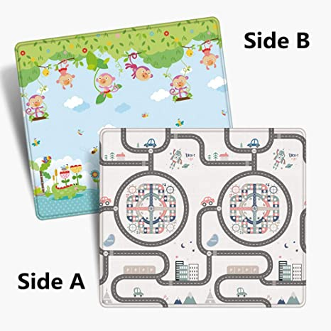 Kids Folding Play Mat Soft Rug Carpet Extra Large Size Thickened Baby Foam Nursery Rug Double-Sided Waterproof Portable Baby Crawling Mats 79 x 71 x 0.4 Inches