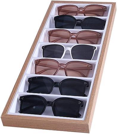 Caja de Gafas Estuche de Gafas de Sol Organizador, Sostenedor de la bandeja de almacenamiento de