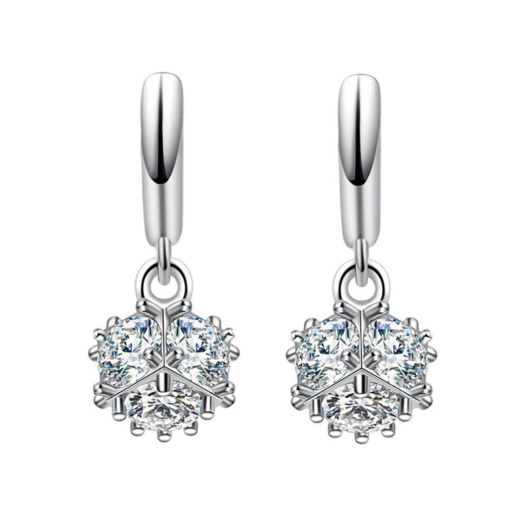 S925 pure silver tassel sparkle earrings with female temperament set with diamond long style earrings