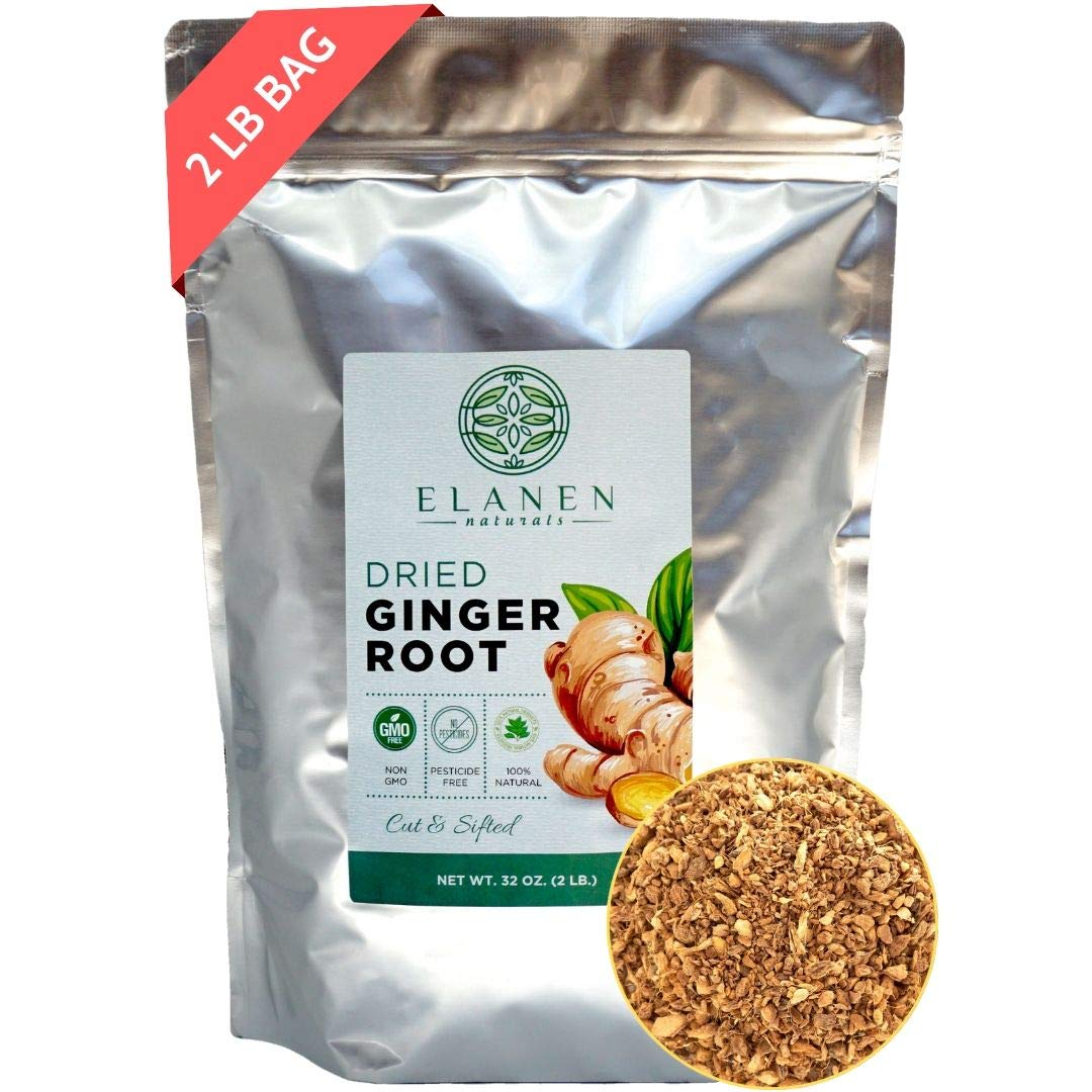 Organic Dried Ginger Root XL 32 oz. (2 lb. Bag), Ginger Tea, Organic Ginger Root, Dry Ginger Organic, Cut & Sifted