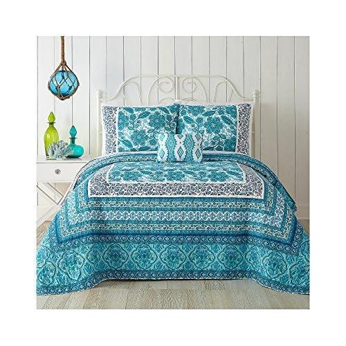Top Jessica Simpson Aqua Flora King Quilt 104X90 for cheap