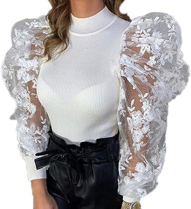 Mujer Primavera Camisa - Moda Manga Larga Slim Fit Blusa Elegantes Manga Abullonada Casual Oficina OL Camisetas Tops: Amazon.es: Ropa y accesorios