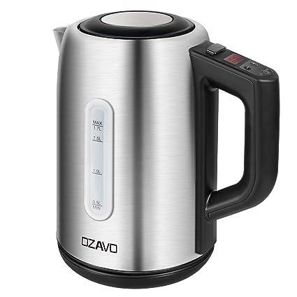OZAVO Hervidor de Agua Eléctrico 1.7L, 2200W, 304 Acero Inoxidable sin BPA,