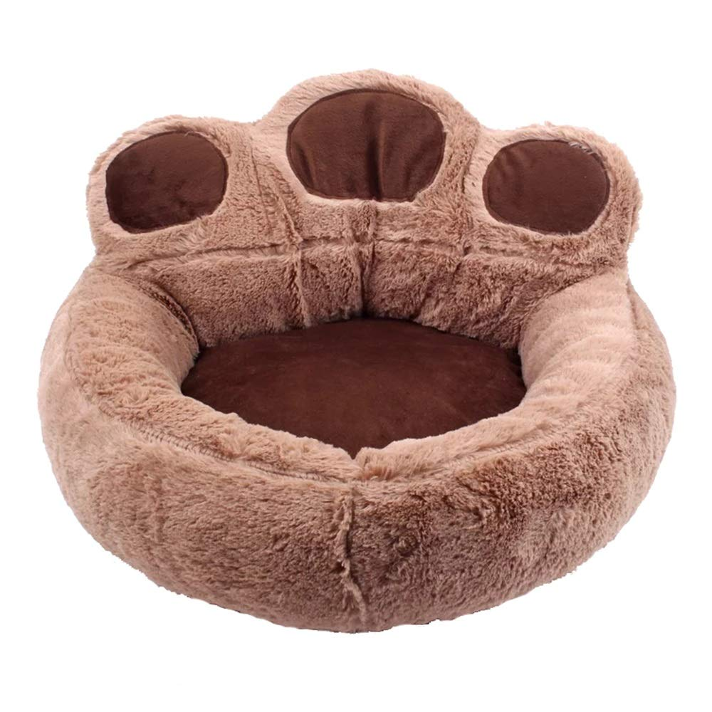 Brown M Brown M Cartoon Footprint Bed Pet Winter Beds Fashion Sofa Cushion Supplies Warm Dog House Pet Sleeping Bag Cozy Puppy Nest Kennel (color   Brown, Size   M)
