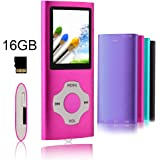 Tomameri -Compact, Digital and Portable MP3 / MP4 Player with a 16 Micro SD Card, Music player with Rhombic Button, with a support of E-Book Reader, Photo Viewer, FM Radio and Voice Recorder - Pink