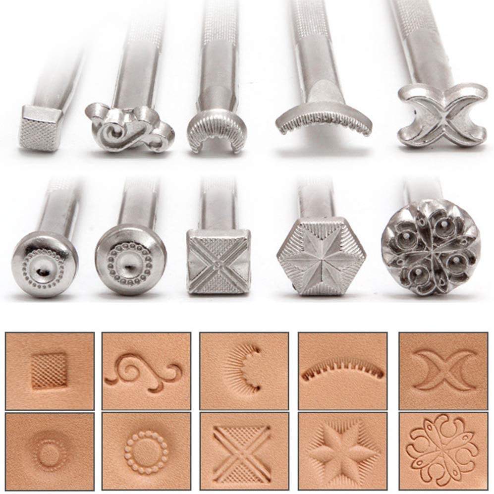 12Pcs//Lot Leathercraft Stamp Tools Working Line Horseshoe Shape Saddle Making Stamping Set Special Punch Carving Handmade Art Tool for DIT Leather Craft Kits Patterns Designs