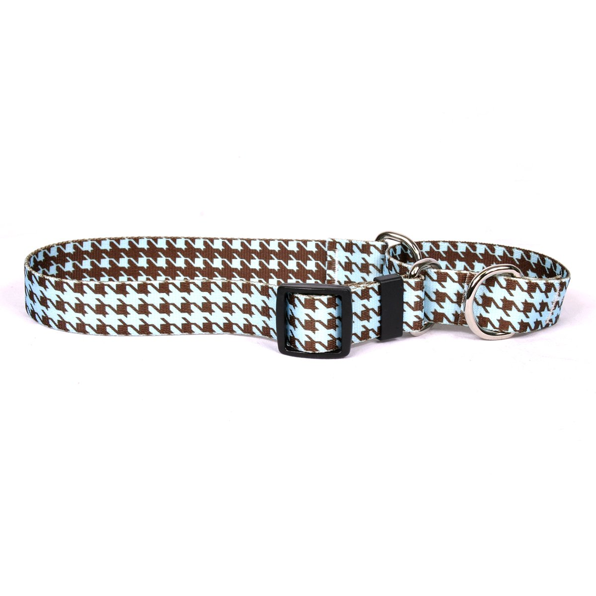 Yellow Dog Design Hounds Tooth Blue and Brown Martingale Dog Collar 1'' Wide and Fits Neck 18 to 26'', Large