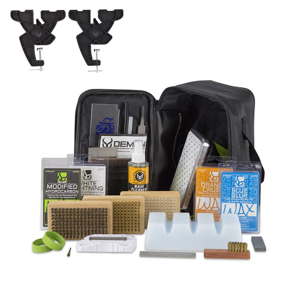 Demon Charger Plus Ski and Snowboard Tuning Kit with Iron, Wax, Vise, Brush Kit, Base Cleaner and Wax Apron