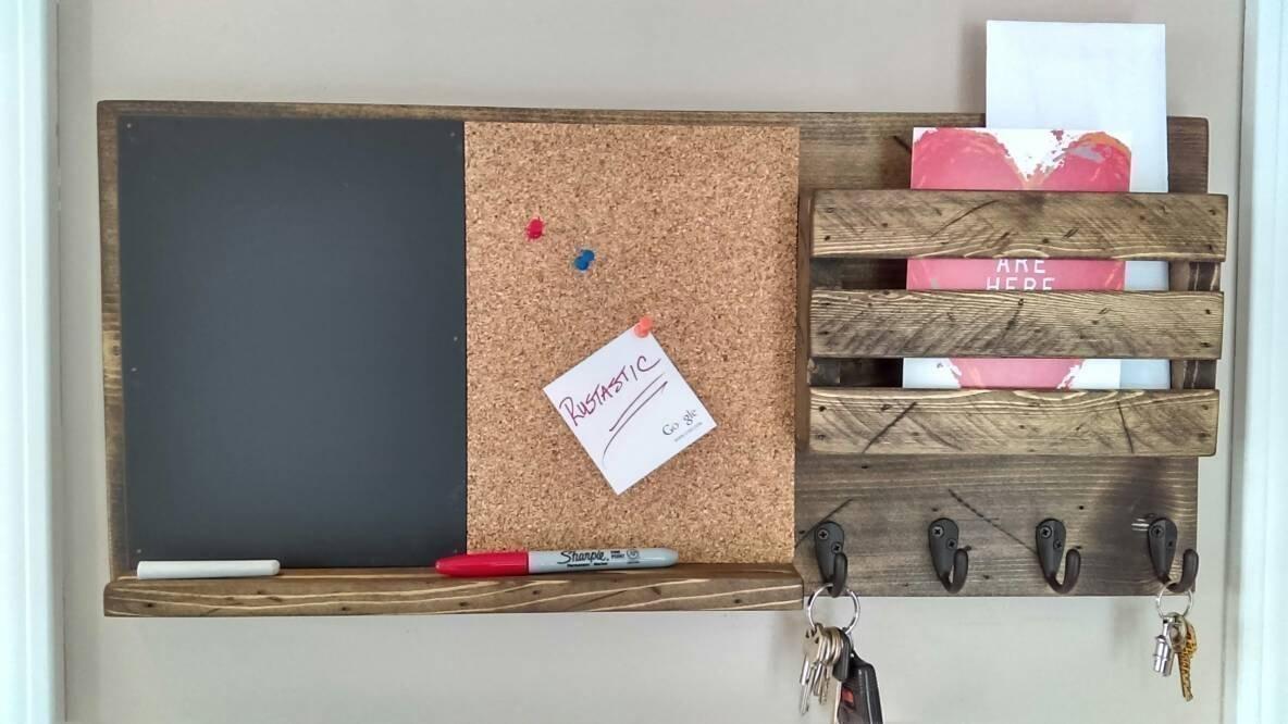 Cork Board and Chalk Board, Mail Organizer, Rustic Organizer, Key Holder, Mail Holder, Personalization Option