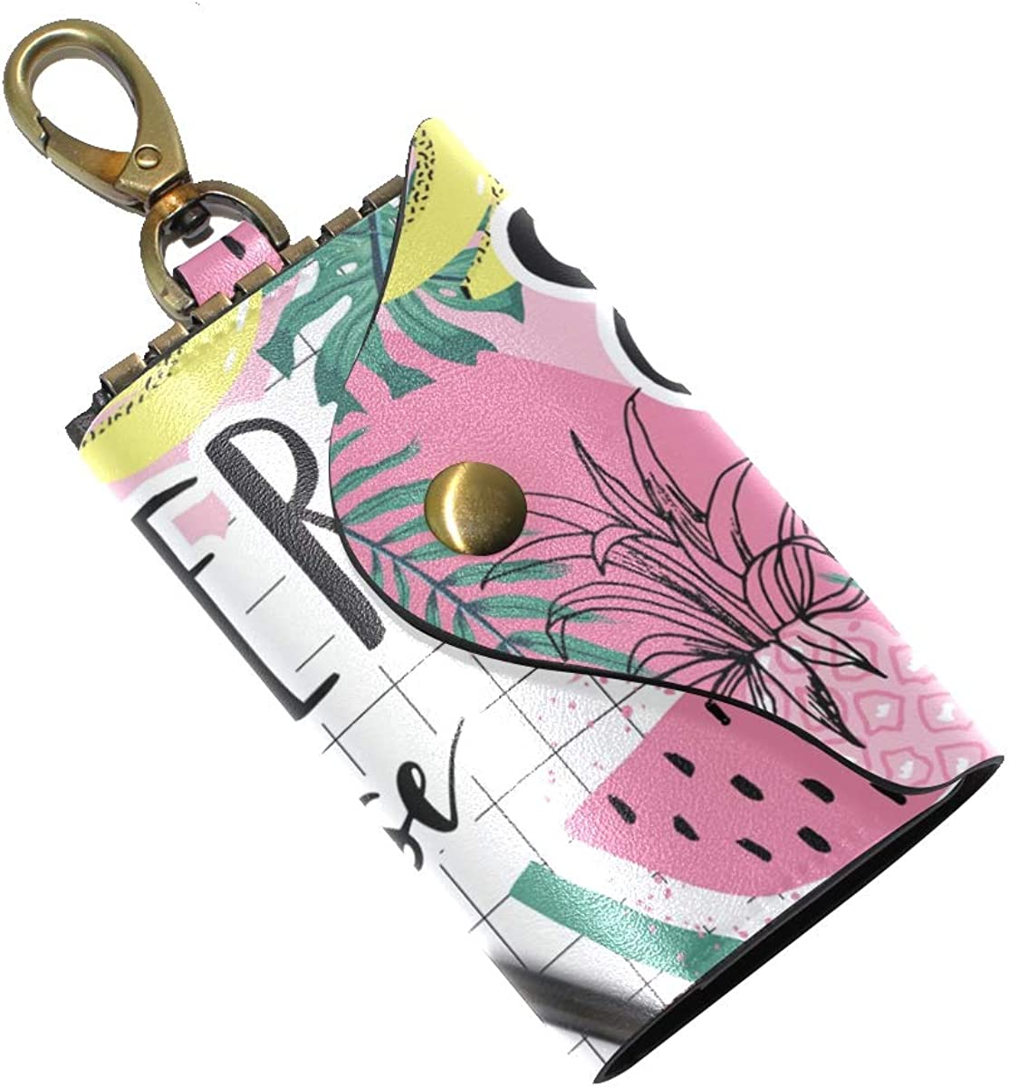 KEAKIA Summer Paradise Leather Key Case Wallets Tri-fold Key Holder Keychains with 6 Hooks 2 Slot Snap Closure for Men Women
