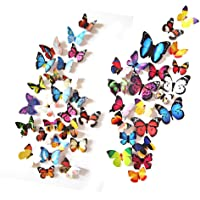eoorau 60PCS Butterfly Wall Decals Wall-3D Butterflies Wall Decor Removable Mural Stickers Home Decoration Kids Room Bedroom Decor (5Colors) ¡