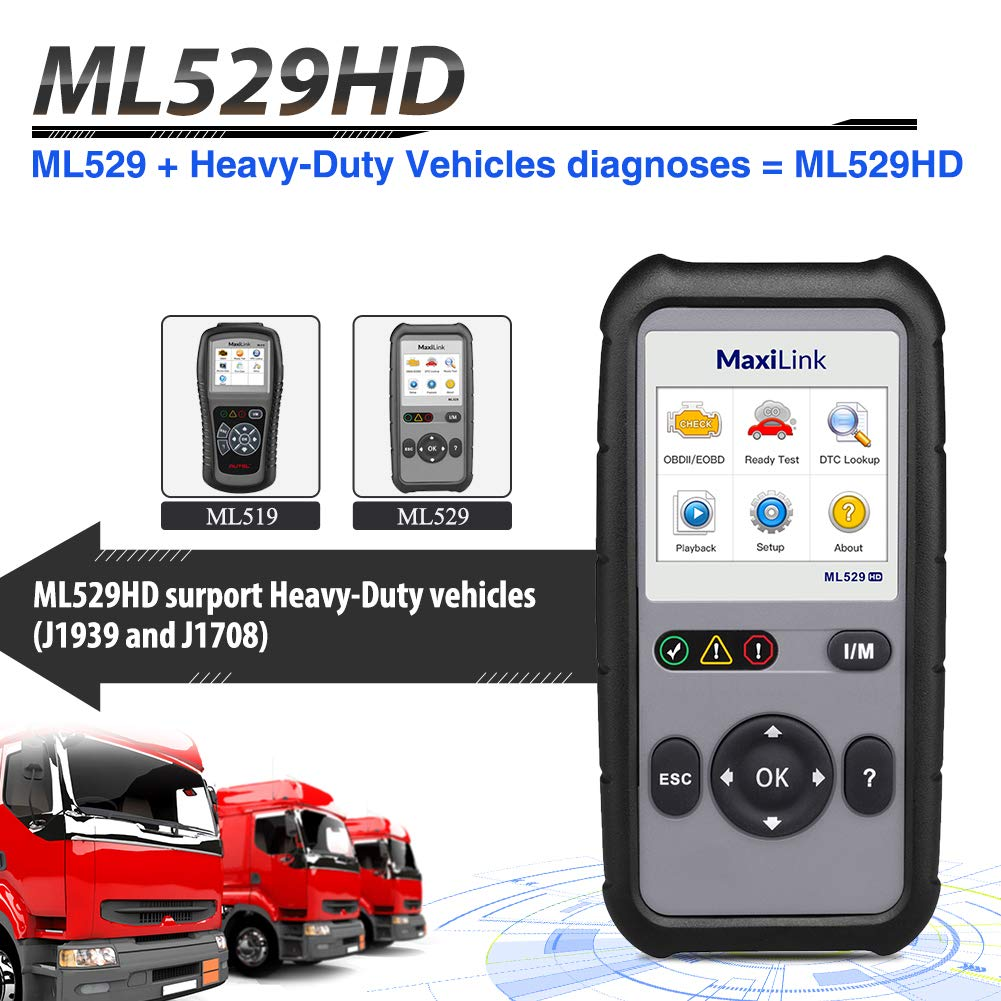 Autel ML529HD OBD2 Scan Tool Upgraded ML519 with Enhanced Mode 6/One-Key Ready Test for Heavy-Duty J1939 & J1708 with AutoVIN/Internet Updatable/Print Data by Autel (Image #8)