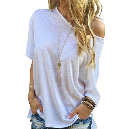 TININNA Moda Camiseta,Mujer verano casual suelto manga corta blusa de las tapas ocasionales de