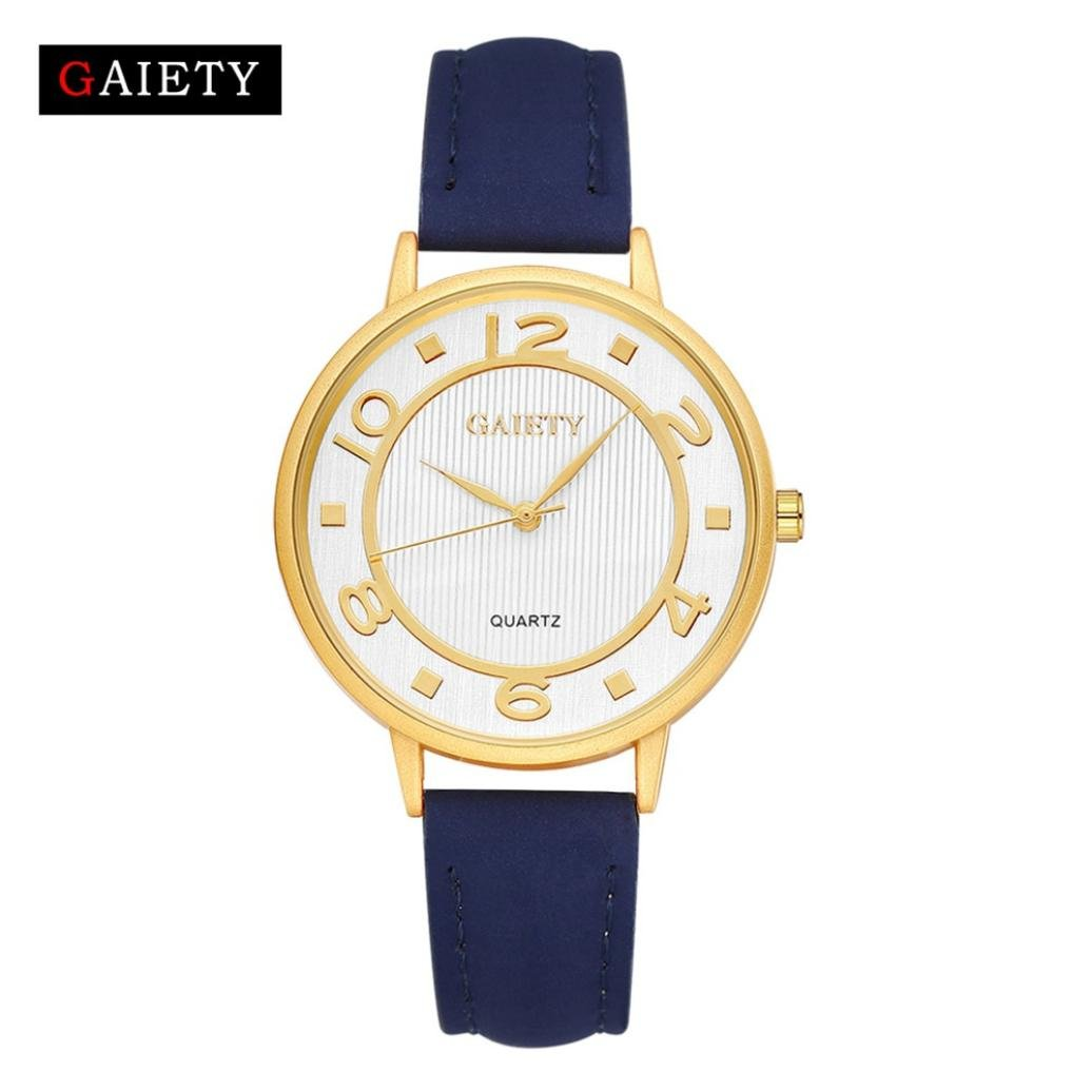 レディースクラシックレザー腕時計、Sinmaポインタ腕時計アナログクォーツゴールドフレームラウンド腕時計 B071S2B5M2 ホワイト