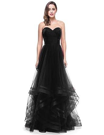 52b0bb8b3a5 Women s Sweetheart Bridesmaid Dress Long Tulle Prom Evening Gown Empire  Waist 249 Black 02