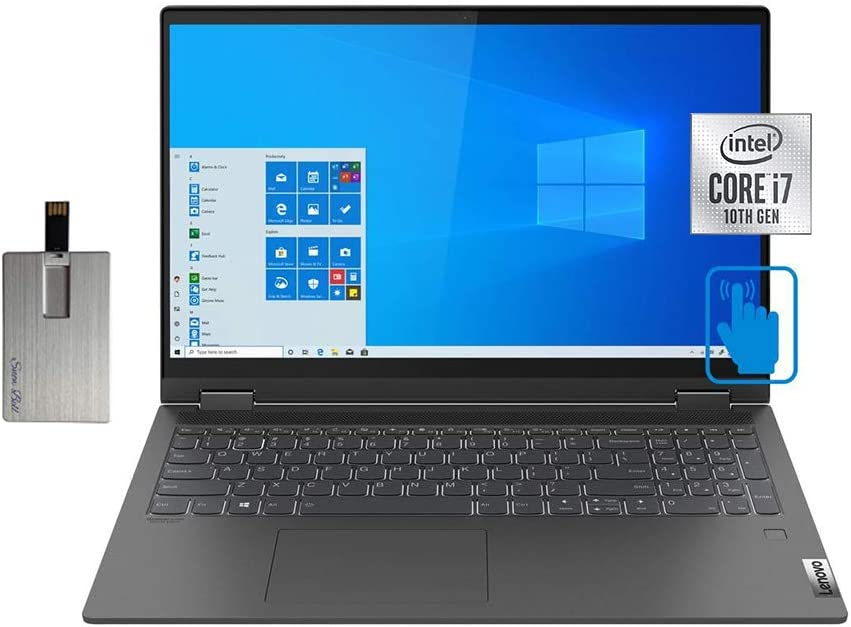 "2020 Lenovo IdeaPad Flex 5 15.6"" FHD Touchscreen Laptop Computer, Intel Core i7-1065G7, 16GB RAM, 1TB PCIe SSD, Backlit KB, Dolby Audio, Intel Iris Plus Graphics, Win10, Gray, 32GB SnowBell USB Card"