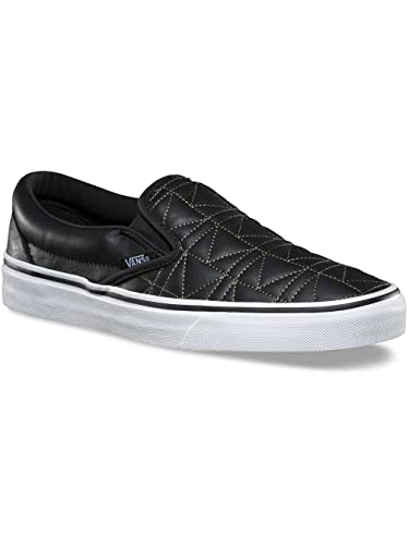vans slip on leather black 9