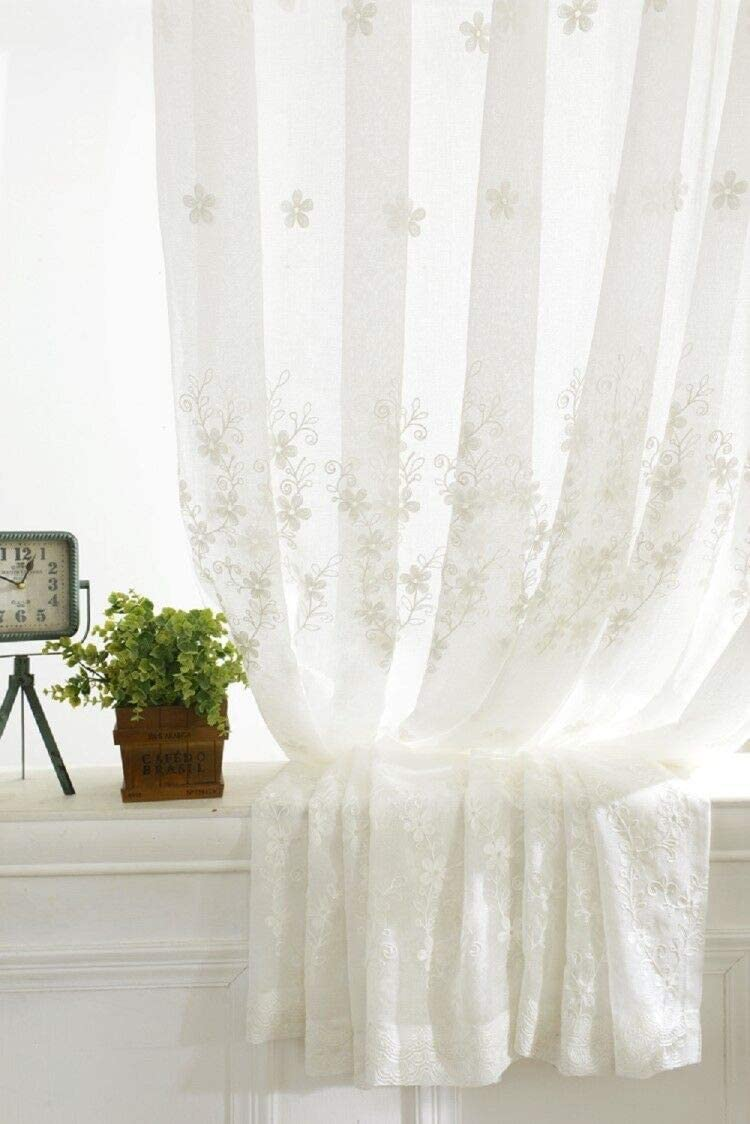mumuaini White Sheer Voile Floral Embroidery Window Treatment Rod Pocket Curtains Floor-Length Drapes for Bedroom, Living Room, Dining, Study 2 Panels