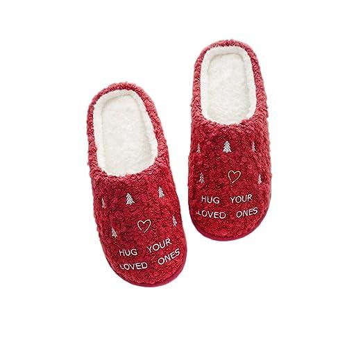 Rojeam Zapatillas de mujer Zapatillas de Navidad rojas Zapatillas de Navidad: Amazon.es: Zapatos y complementos