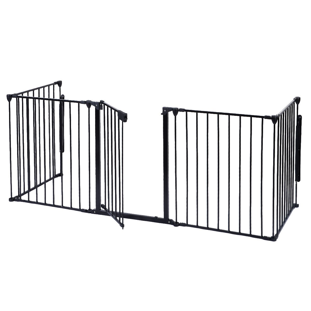 Costzon Baby Safety Gate, 120 Inch Length Fireplace Fence, BBQ Metal Fire Gate, Pet Isolation Fence with Walk-Through Door, Hardware Mount or Freestanding Hearth Gate