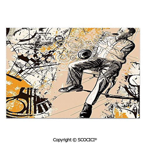 SCOCICI Place Mats Set of 6 Personalized Printed Non-Slip Table Mats Saxophonist on Murky Backdrop Playing Music Rhythm Groovy Band Artwork for Dining Room Kitchen Table Decor]()