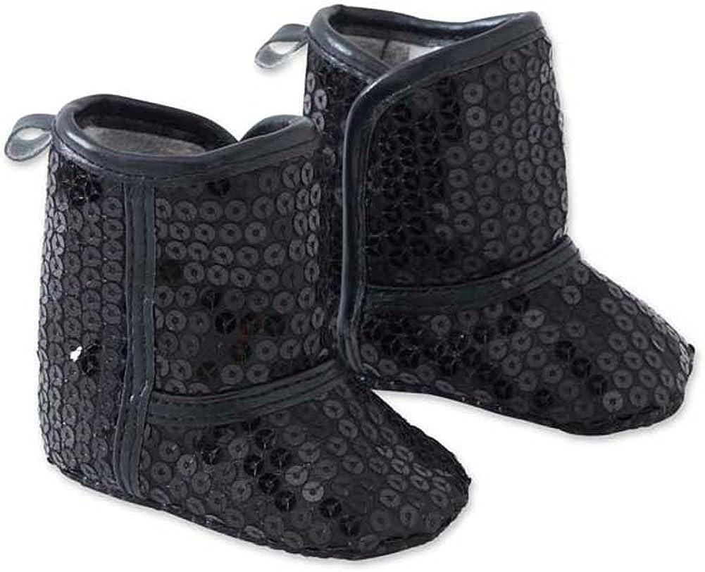 Baby Girls Black Sequin Booties
