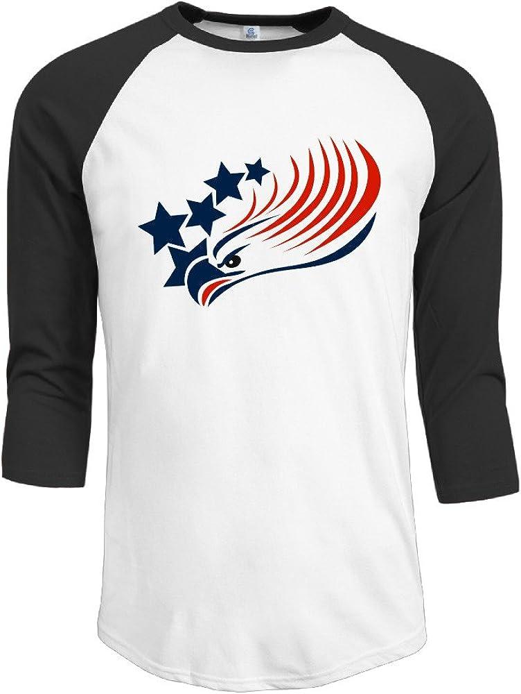 Algodón Hombre Bald Eagle American Flag logo 3/4 Manga béisbol ...