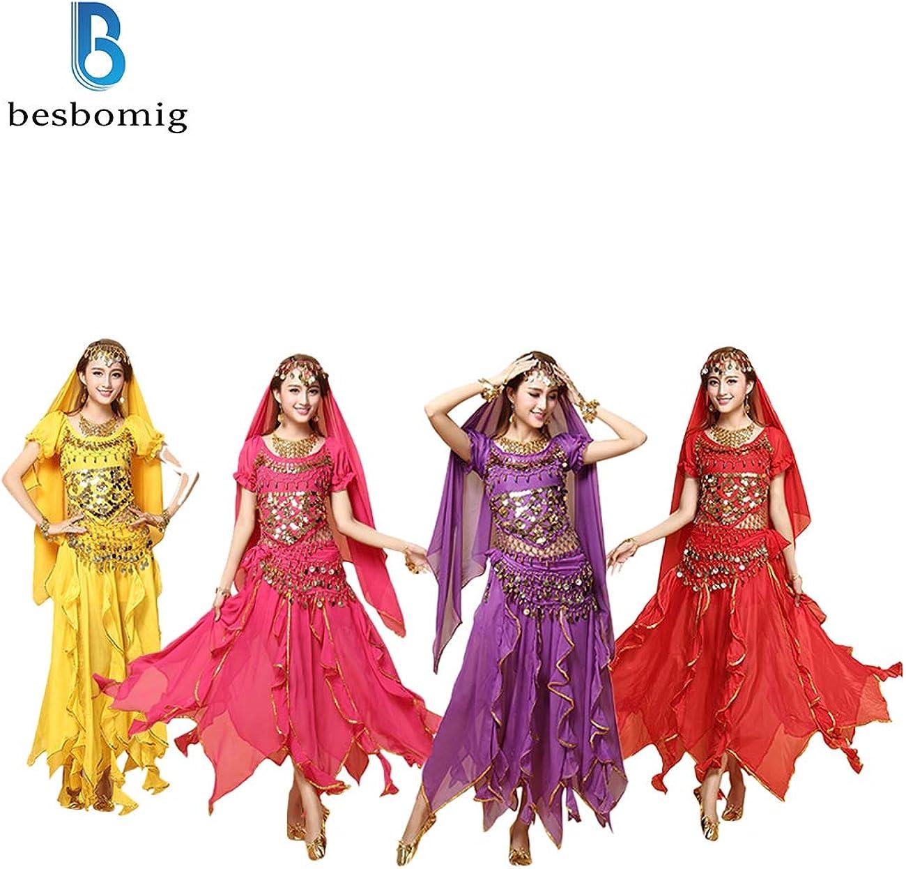 6 Piezas Manga Corta Lentejuelas Conjunto de Danza India Ropa de Rendimiento besbomig Profesional Se/ñoras Disfraz de Danza del Vientre