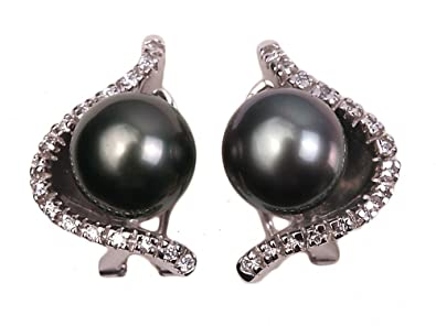 cef6b01a1 Image Unavailable. Image not available for. Color: JYX Pearl Earrings 14K  Gold AAAA Quality 10.5mm Black Round Tahitian South Sea Cultured Pearl