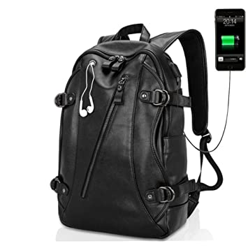 mujer material escolar mochilas laptop pu cuero USB Unisex Bolso Negro: Amazon.es: Equipaje