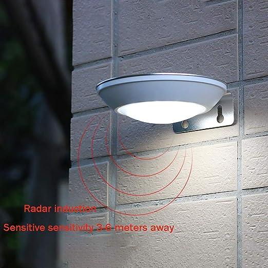 Luz Solar Jardín, [2 Piezas] 16 led Chip Foco Solar Exterior con Sensor de Movimiento Luces solares Impermeable Inalámbrico Lámparas Solares Pared Seguridad 1 Modos Inteligente para Jardín,Escaleras: Amazon.es: Hogar