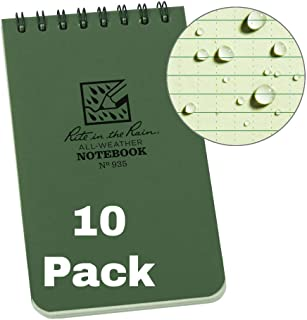"""product image for Rite in the Rain Weatherproof Top-Spiral Notebook, 3"""" x 5"""", Green Cover, Universal Pattern, 10 Pack (No. 935)"""