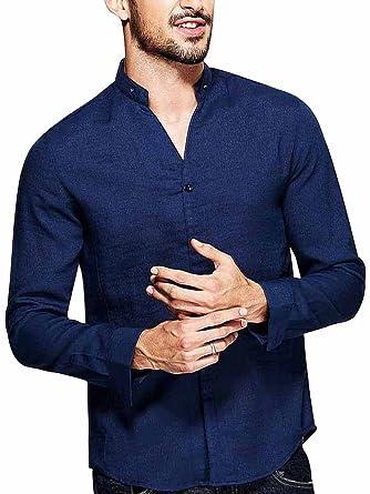 7fba5b13d8ef68 Men's Slim Fit Cotton Blends Band Collar Button Down Shirt Blue Asian 2XL  ...