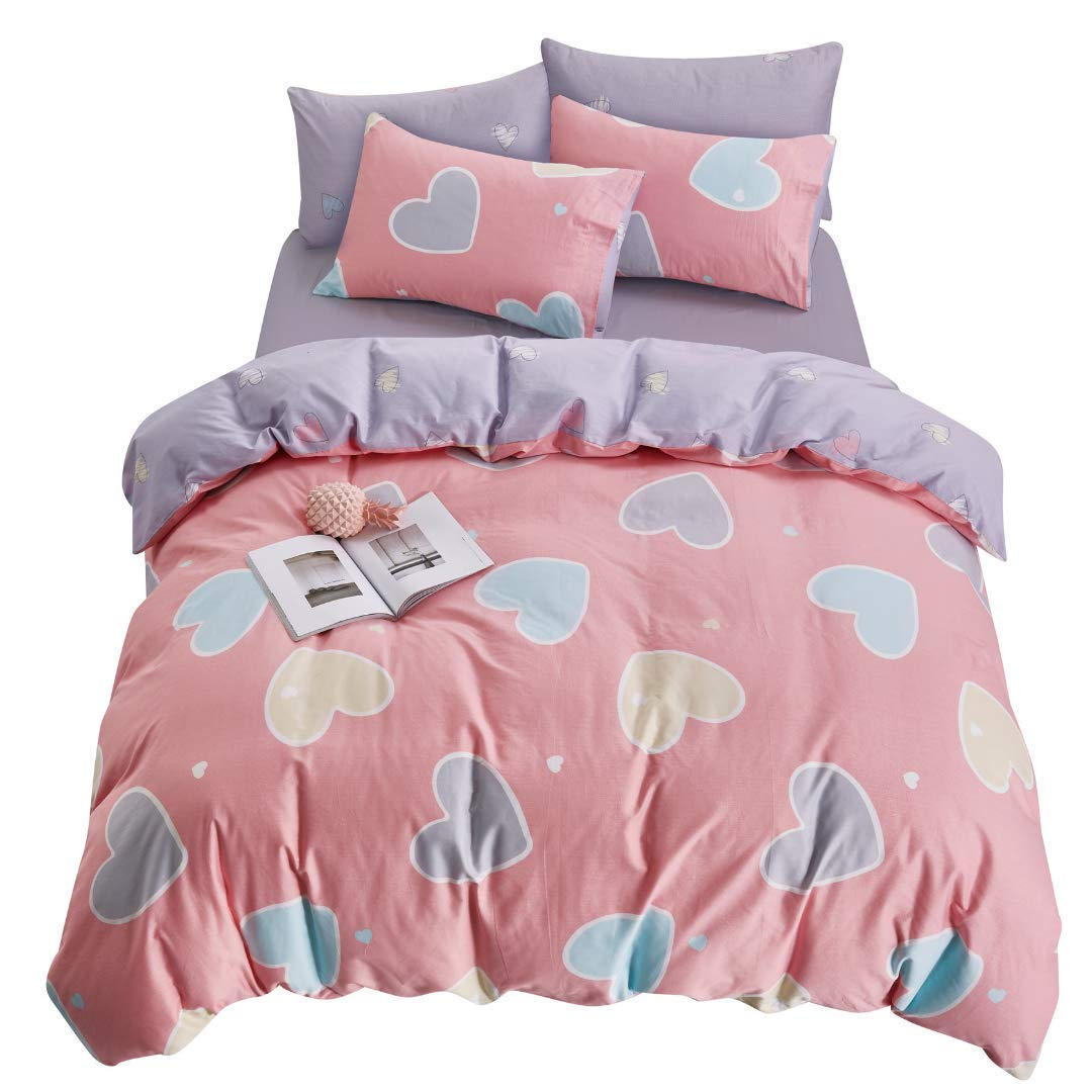 ELLE & KAY Pink Duvet Cover - 100% Cotton, Zipper Closure, Pink and Purple Teen Bedding - Lightweight, Hypoallergenic, Comforter Cover, 3 Pieces, Queen Love Hearts Bedding Set.