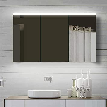 Amazon.de: Lux-aqua Alu Badezimmerspiegelschrank mit ...