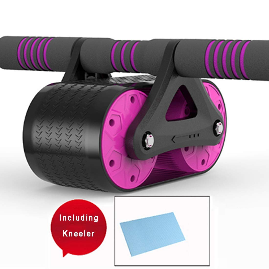 Sugoishop Roller Wheel for Abdominal Exercise Automatic Rebound Assistance and Resistance Springs with Ergonomic Handle Sold with Knee Pad (Color : Purple)