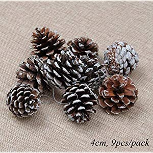 GSD2FF 1Pack Artificial Flower Fake Plants Pine Branches Christmas Tree Party Decorations Xmas Tree Ornaments Kids Gift,9pcs Brown White nut 46