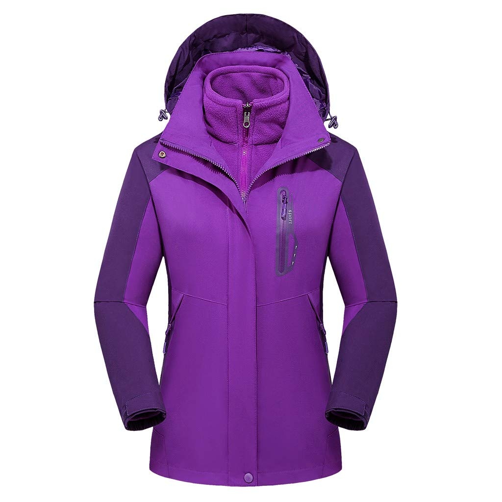 Pandaie Women 3 in 1 Jacket Hooded Detachable Warm Liner Waterproof Windproof Winter Outdoor Ski Windbreaker Raincoat Purple by Pandaie