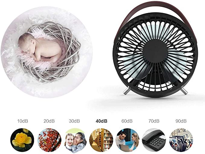 Color : Black BZFjy Portable Fan USB Powered 5.5 Inch Desktop Small Fan Dormitory Student Office Outdoor Travel