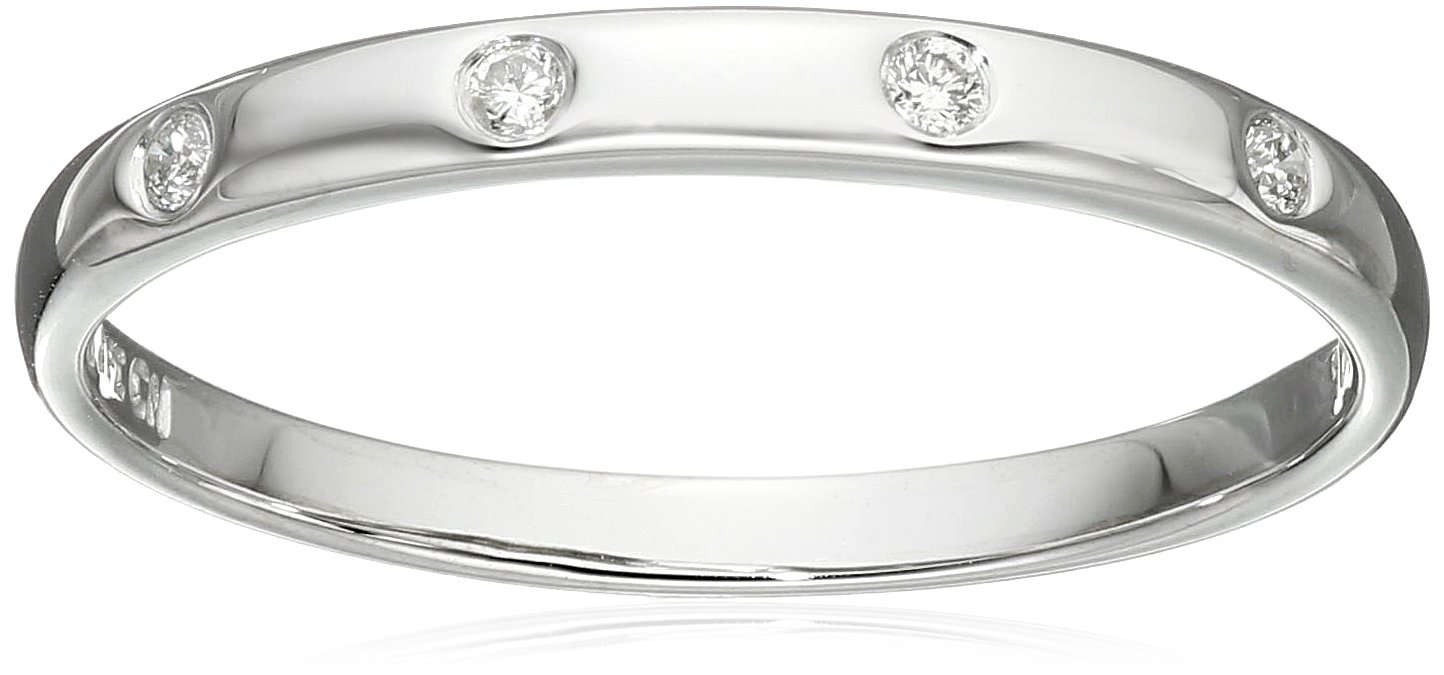 10k White Gold Diamond Band , Size 8 by Amazon Collection
