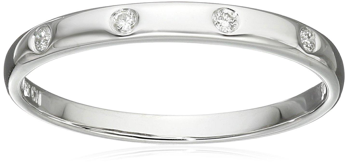 10k White Gold Diamond Band , Size 6