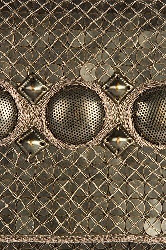 MyBatua Chloe argento antico Pochette Handcrafted con Brass Silver Metallic Discussione ACP-480