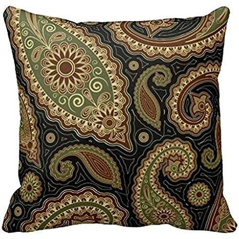 Verde oscuro y Burgundy cachemir png manta funda de almohada ...