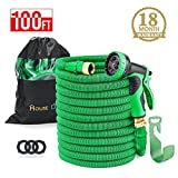 HOUSE DAY 100 feet Green Heavy Duty Expanding Garden Water Hose,3/4'' Solid Brass Fittings,Expandable Hose,9-Function Spray Nozzle,Hose Holder